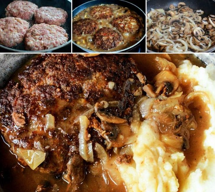 Southern Hamburger Steaks with Onion Mushroom Gravy