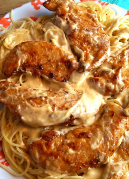 CHICKEN SPAGHETTI WITH DELICIOUS SAUCE