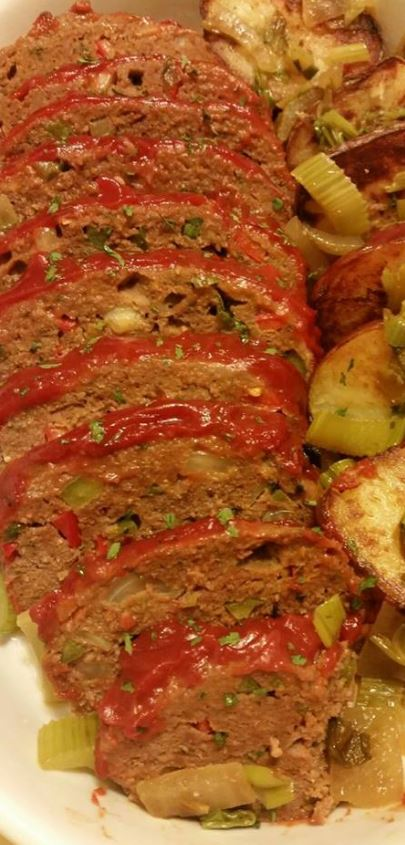 Meatloaf with Roasted Garlic Potatoes