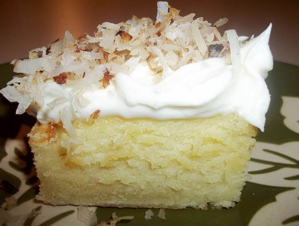 Cream Cheese Sheet Cake Coconut Topped