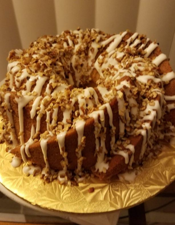 Cinnamon Roll Pound Cake with Cream Cheese Glaze and Pecans