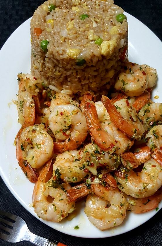 Vegetable Fried Rice with Butter & Garlic Shrimp