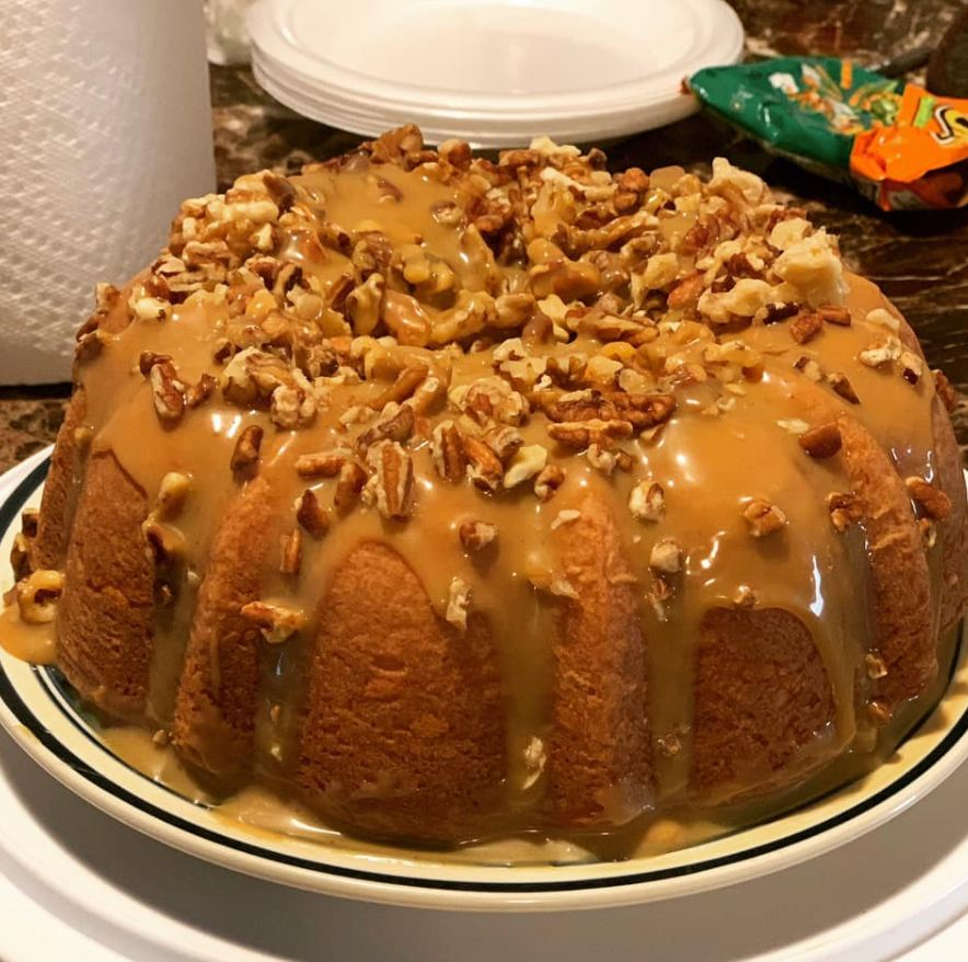 Dessert Caramel Pound Cake with Walnuts and Pecan
