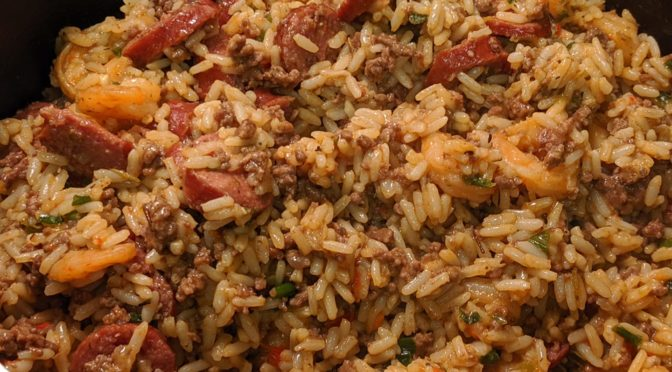 Dirty Rice with Shrimp and Sausage