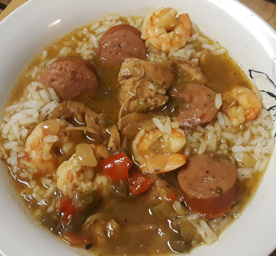 Chicken, sausage and shrimp gumbo with rice