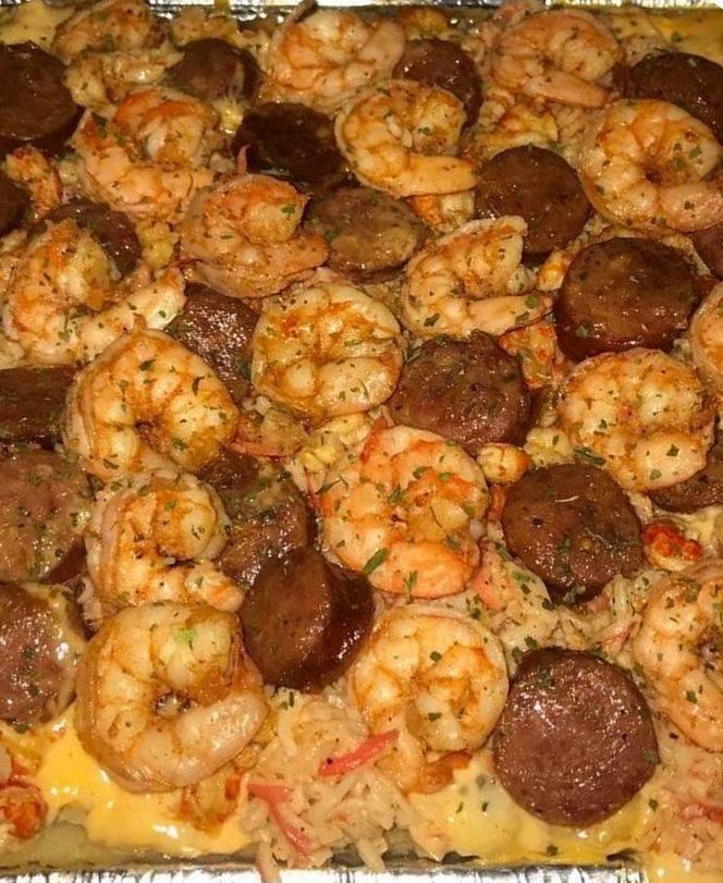 Seafood Loaded Potato Pan shrimp
