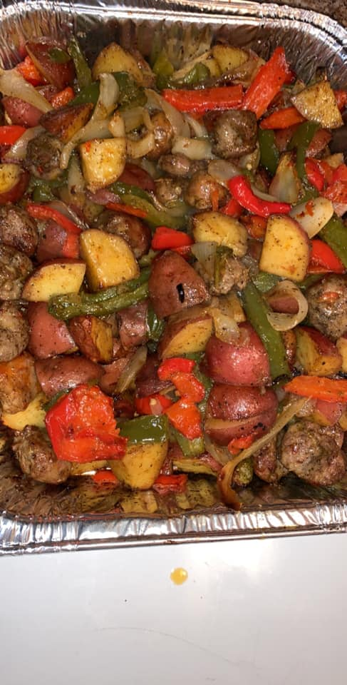 Italian sausage with red potatoes red and green peppers and onion lots of seasonings