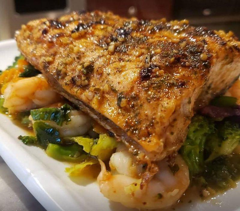 Salmon and shrimp stir fry