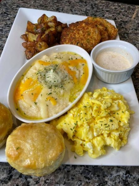 Salmon croquettes red potatoes eggs and grits