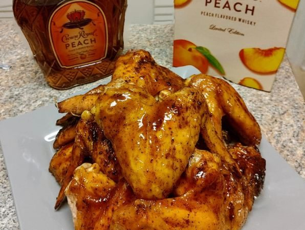 Grilled wings with Crown Peach glaze ; crown peach wings the pampered kitchen fairy